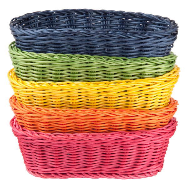 "Tablecraft HM1174A Oval Rattan Basket 9 1/4"" x 6 1/4"" x 3 1/4"" Assorted Colors 5/Pack"