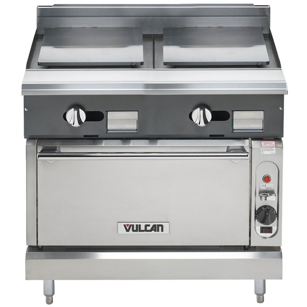 """Vulcan V2P36S-NAT V Series Natural Gas 36"""" Heavy-Duty Range with 2 Plancha Tops and Standard Oven - 85,000 BTU"""