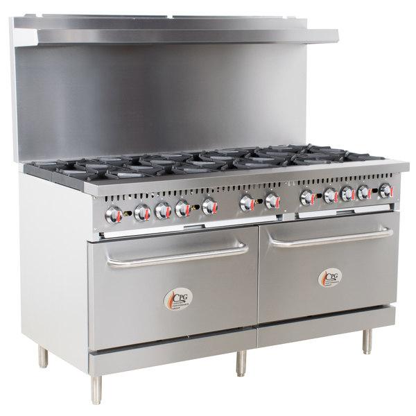 Cooking Performance Group S60-L Liquid Propane 10 Burner 60 inch Range with 2 Standard Ovens - 360,000 BTU
