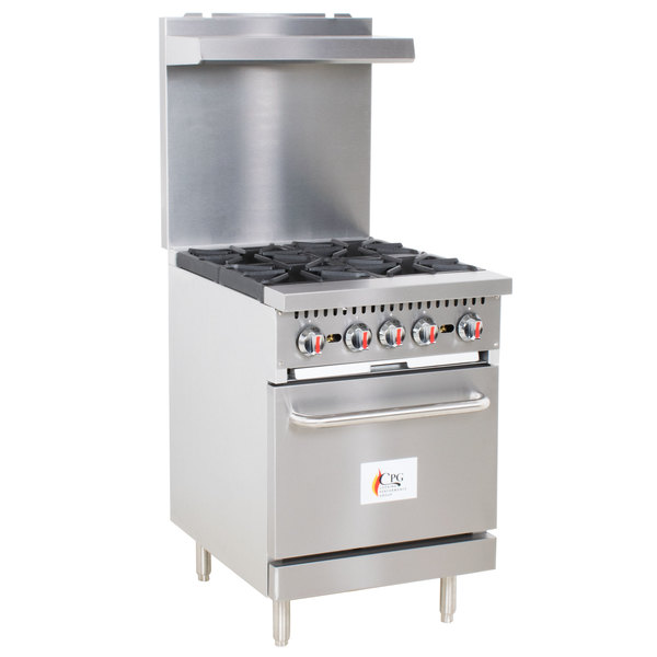 Cooking Performance Group S24-L Liquid Propane 4 Burner 24 inch Range with Standard Oven - 150,000 BTU