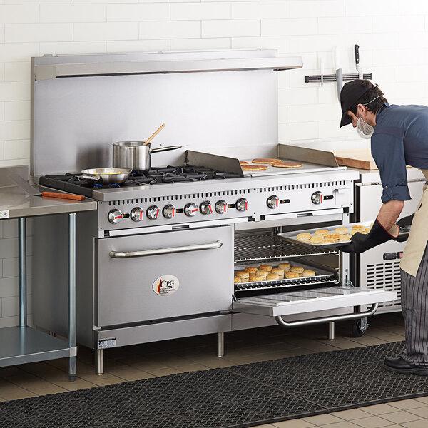 "Cooking Performance Group S60-G24-N Natural Gas 6 Burner 60"" Range with 24"" Griddle and 2 Standard Ovens - 280,000 BTU Main Image 5"