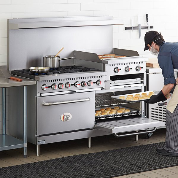 "Cooking Performance Group S60-GS24-N Natural Gas 6 Burner 60"" Range with 24"" Griddle/Broiler and 2 Standard Ovens - 276,000 BTU Main Image 5"