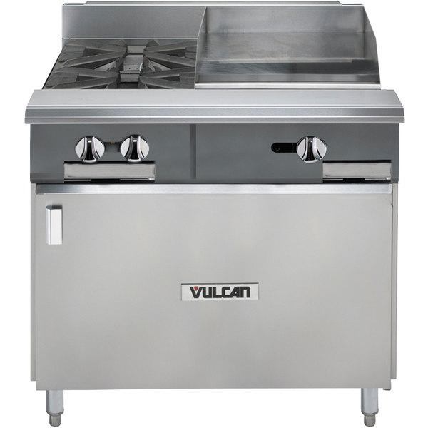 "Vulcan V2BG18B-LP V Series Liquid Propane 36"" 2 Burner Heavy-Duty Manual Range with 18"" Right Side Griddle and Cabinet Base - 96,000 BTU"