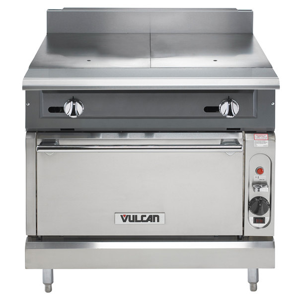 "Vulcan V236HC-LP V Series Liquid Propane 2 Burner Heavy-Duty Range with 36"" Hot Top and Convection Oven - 92,000 BTU"