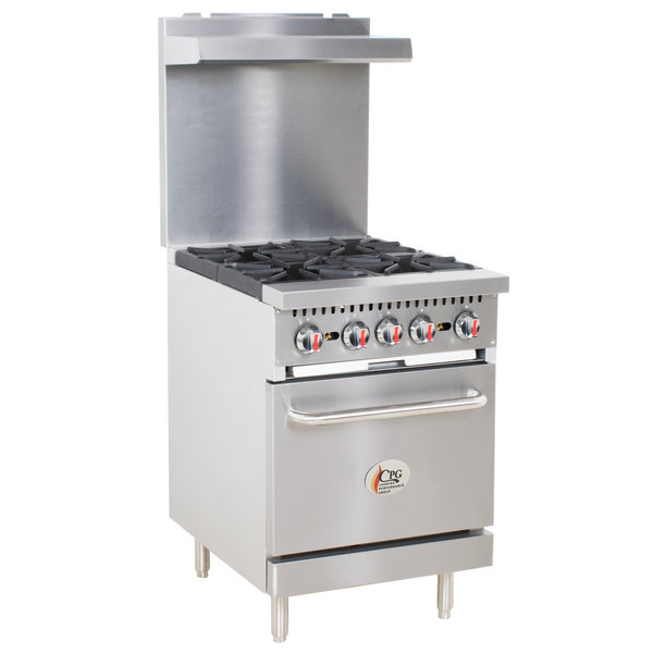 Cooking Performance Group S24-N Natural Gas 4 Burner 24 inch Range with Standard Oven - 150,000 BTU