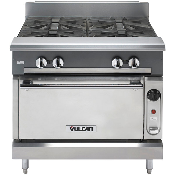 "Vulcan V4B36C-LP V Series Liquid Propane 4 Burner 36"" Heavy-Duty Range with Convection Oven - 164,000 BTU"