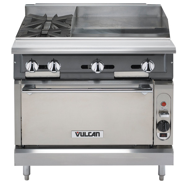 "Vulcan V2BG4TS-NAT V Series Natural Gas 36"" 2 Burner Heavy-Duty Thermostatic Range with 24"" Right Side Griddle and Standard Oven Base - 176,000 BTU"