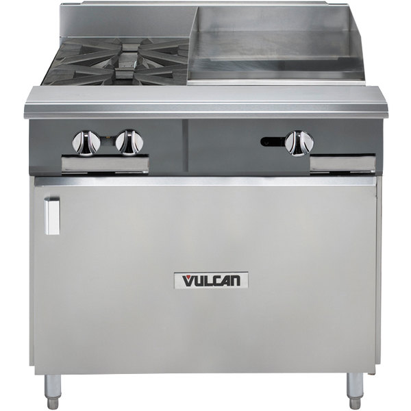 "Vulcan V2BG8TB-NAT V Series Natural Gas 36"" 2 Burner Heavy-Duty Thermostatic Range with 18"" Right Side Griddle and Cabinet Base - 96,000 BTU"