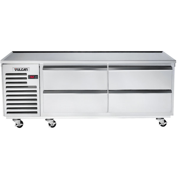 "Vulcan VR72 72"" 4 Drawer Remote Cooled Refrigerated Chef Base"