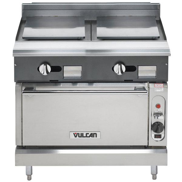 "Vulcan V2P36S-LP V Series Liquid Propane 36"" Heavy-Duty Range with 2 Plancha Tops and Standard Oven - 85,000 BTU"
