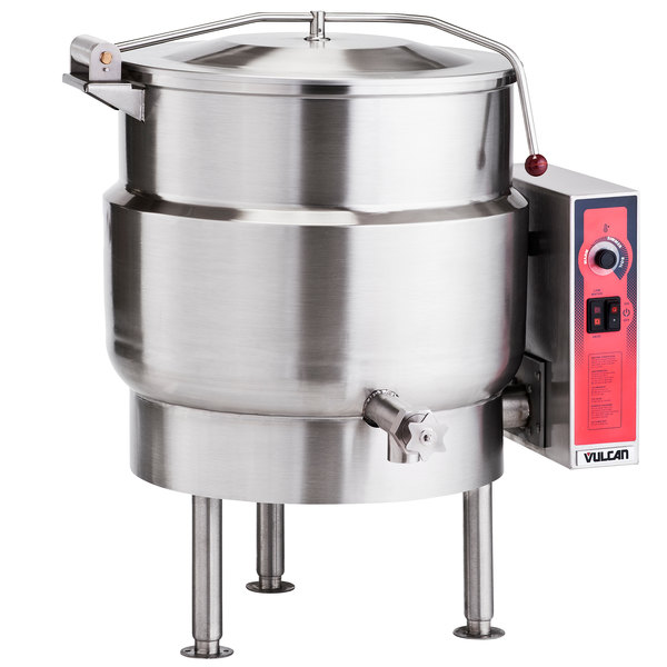Vulcan K40EL 40 Gallon Stationary 2/3 Steam Jacketed Electric Kettle - 208V, 3 Phase, 18 kW Main Image 1