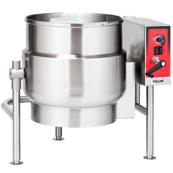 Vulcan K60ELT 60 Gallon Tilting 2/3 Steam Jacketed Electric Kettle - 208V, 3 Phase, 18 kW Main Image 1