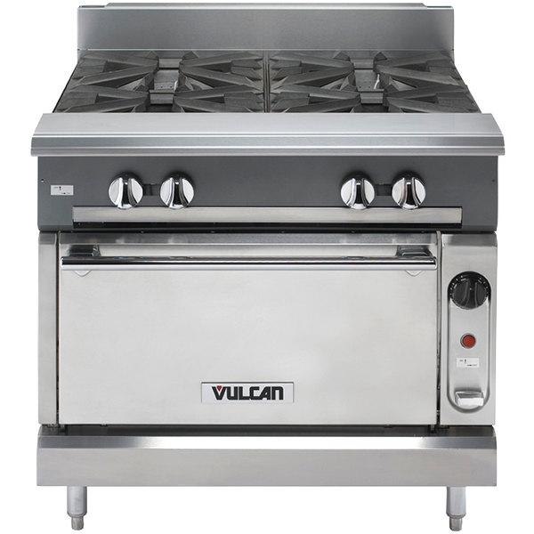 "Vulcan V4B36S-LP V Series Liquid Propane 4 Burner 36"" Heavy-Duty Range with Standard Oven - 182,000 BTU"