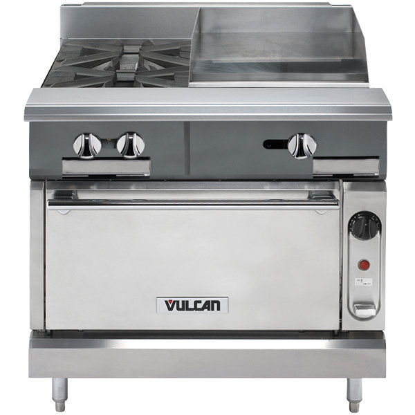 "Vulcan V2BG18C-LP V Series Liquid Propane 36"" 2 Burner Heavy-Duty Manual Range with 18"" Right Side Griddle and Convection Oven Base - 128,000 BTU"