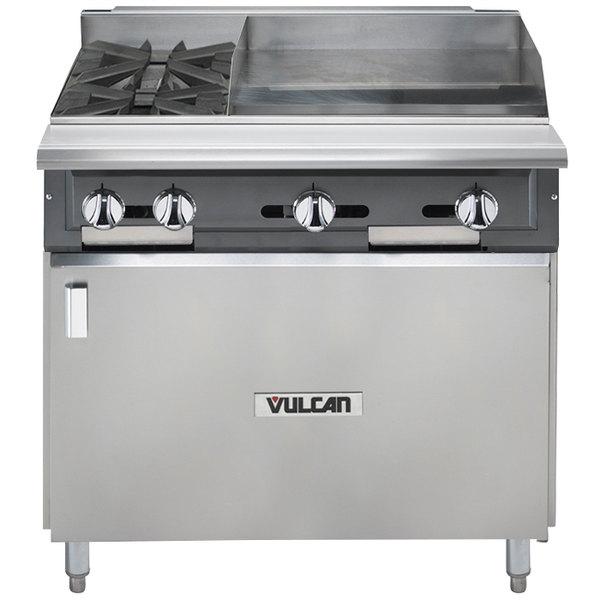 "Vulcan V2BG4TB-LP V Series Liquid Propane 36"" 2 Burner Heavy-Duty Thermostatic Range with 24"" Right Side Griddle and Cabinet Base - 126,000 BTU"