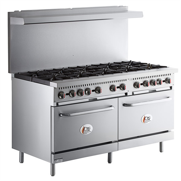 Cooking Performance Group S60-N Natural Gas 10 Burner 60 inch Range with 2 Standard Ovens - 360,000 BTU