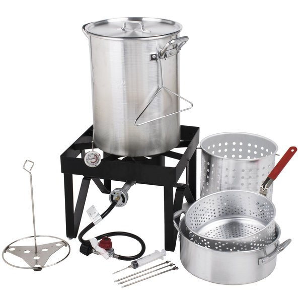 This Backyard Pro 30 qt. deluxe fryer / steamer kit includes all the parts  and accessories you need to make a moist, delicious, deep fried turkey up  to 20 ... - Turkey Fryer Kit Backyard Pro 30 Quart Deluxe Turkey Fryer Kit