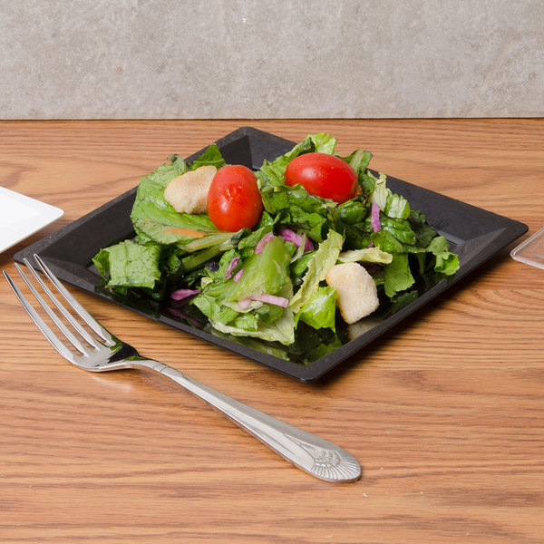"WNA Comet MS75BK 6 3/4"" Black Square Milan Plastic Salad Plate - 12/Pack"