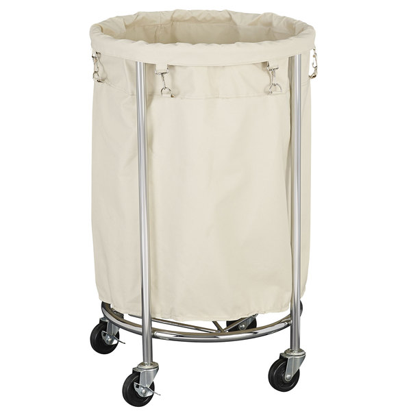 Chrome Mobile Heavy Duty Round Laundry Hamper With Removable Polyester Bag