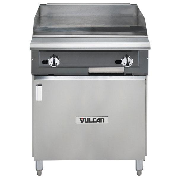 "Vulcan VGM24B-LP V Series Liquid Propane 24"" Heavy-Duty Manual Range with Griddle Top and Cabinet Base - 60,000 BTU"