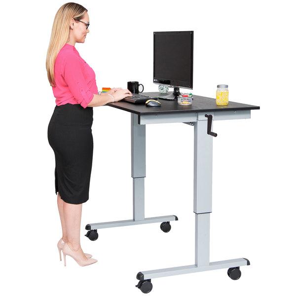 "Luxor STANDCF48-AG/BO Stand Up Desk with Silver Steel Frame and Black Oak Desktop - 48"""