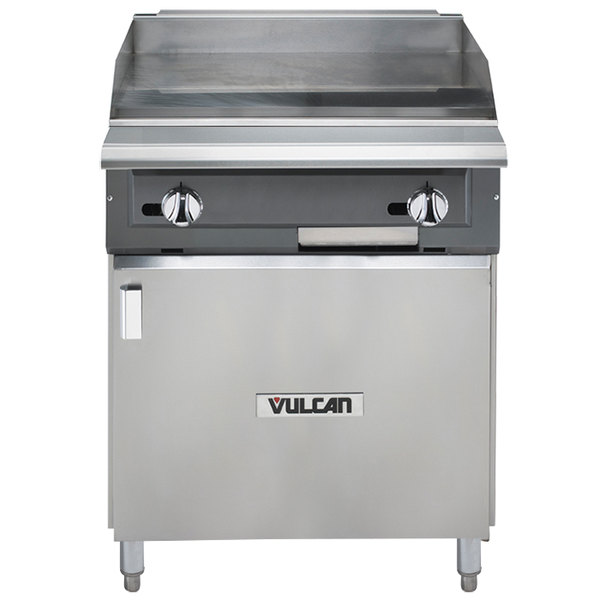 """Vulcan VGM24B-NAT V Series Natural Gas 24"""" Heavy-Duty Manual Range with Griddle Top and Cabinet Base - 60,000 BTU"""