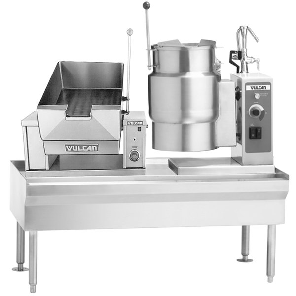 "Vulcan VEKT64/B1212 64"" Table with (1) 12 Gallon Braising Pan and (1) 12 Gallon Electric Tilting Kettle - 208V, 21 kW"
