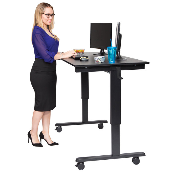 """Luxor STANDCF60-BK/BO Stand Up Desk with Black Steel Frame and Black Oak Desktop - 60"""" Main Image 4"""