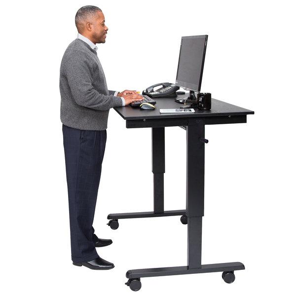 """Luxor STANDCF48-BK/BO Stand Up Desk with Black Steel Frame and Black Oak Desktop - 48"""" Main Image 4"""