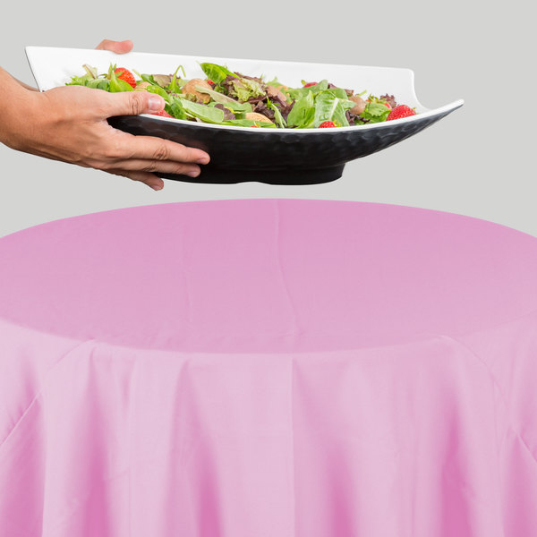 """132"""" Round Pink 100% Polyester Hemmed Cloth Table Cover"""