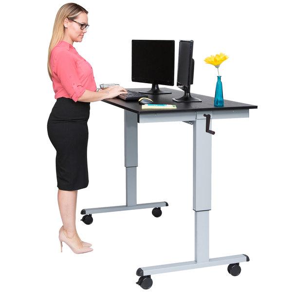 "Luxor STANDCF60-AG/BO Stand Up Desk with Silver Steel Frame and Black Oak Desktop - 60"""