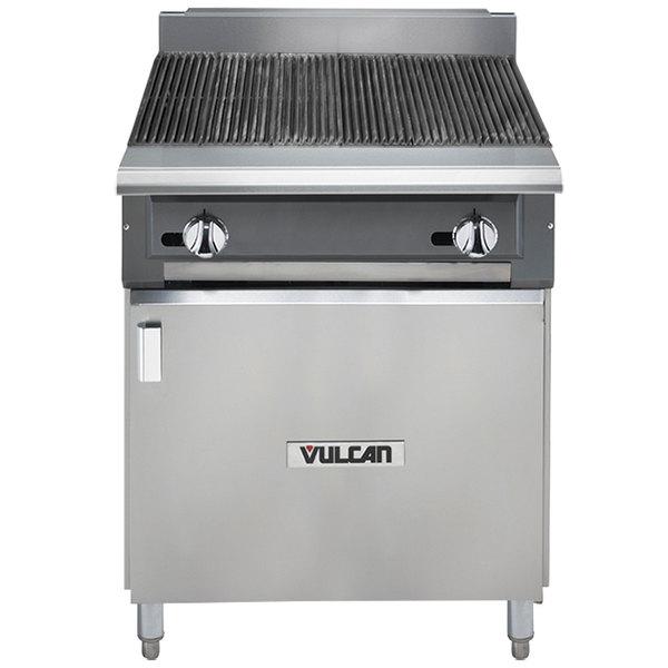 "Vulcan VCBB24B-LP V Series Liquid Propane 24"" Radiant Gas Floor Model Charbroiler with Cabinet Base - 65,000 BTU"