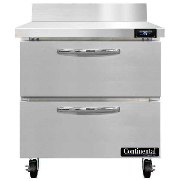 """Continental Refrigerator SW32-BS-D 32"""" Worktop Refrigerator with Two Drawers - 9 cu. ft. Main Image 1"""