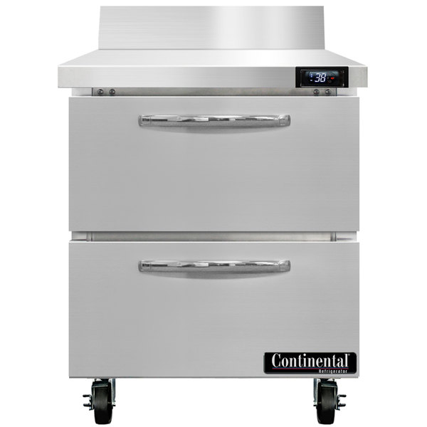 """Continental Refrigerator SW27-BS-D 27"""" Worktop Refrigerator with Two Drawers - 7.4 cu. ft."""