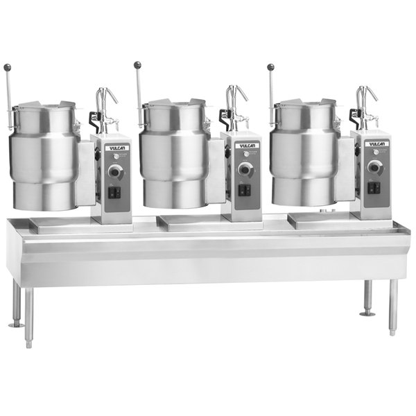 "Vulcan VEKT80/666 80"" Table with (3) 6 Gallon Electric Tilting Kettles - 208V, 22.5 kW Main Image 1"