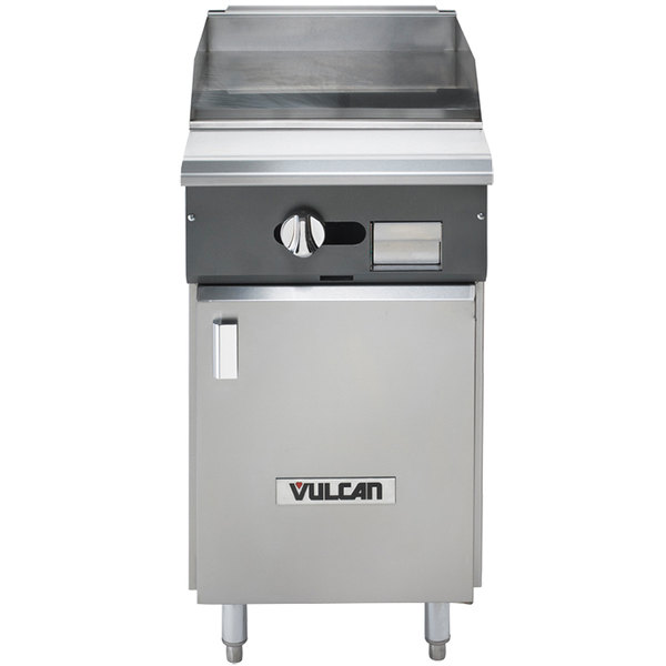 "Vulcan VGM18B-LP V Series Liquid Propane 18"" Heavy-Duty Manual Range with Griddle Top and Cabinet Base - 30,000 BTU"