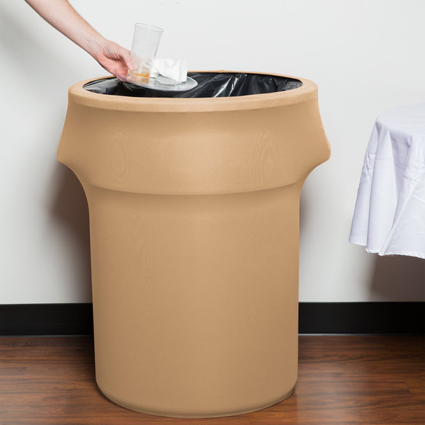 Marko EMB5026WC55049 Embrace 55 Gallon Sandalwood Spandex Round Waste Container Cover