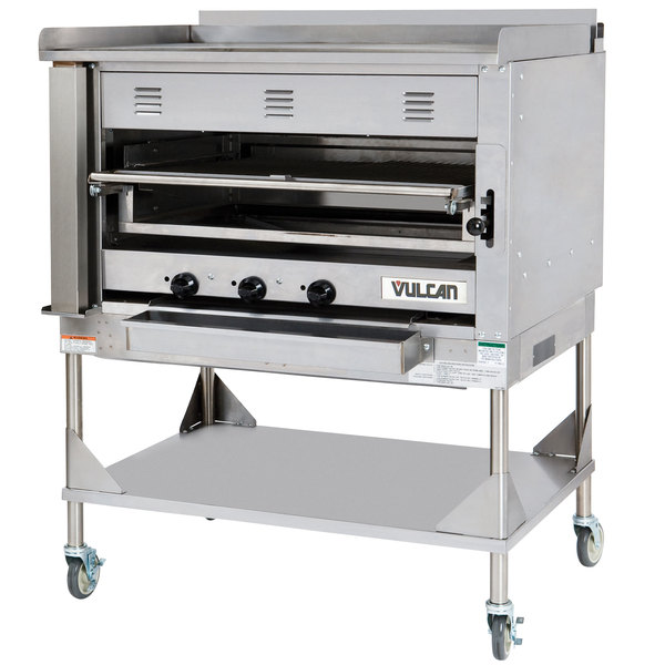 Vulcan VST4B-LP Liquid Propane Chophouse Ceramic Broiler with Griddle Top and Stand - 135,000 BTU