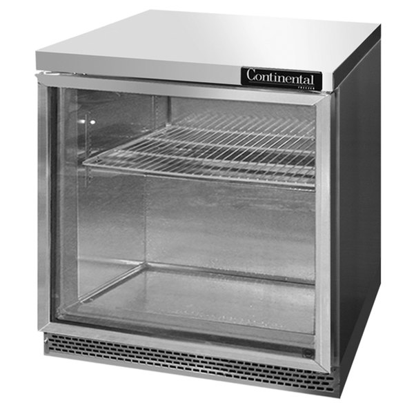 "Continental Refrigerator SW32-GD-FB 32"" Front Breathing Undercounter Refrigerator with Glass Door - 9 Cu. Ft."