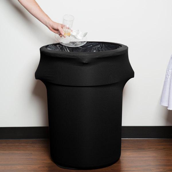 Marko EMB5026WC44014 Embrace 44 Gallon Black Spandex Round Waste Container Cover