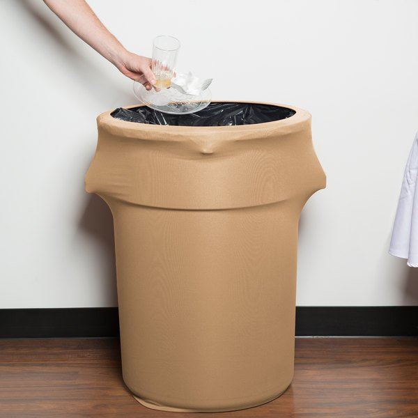 Marko EMB5026WC44049 Embrace 44 Gallon Sandalwood Spandex Round Waste Container Cover