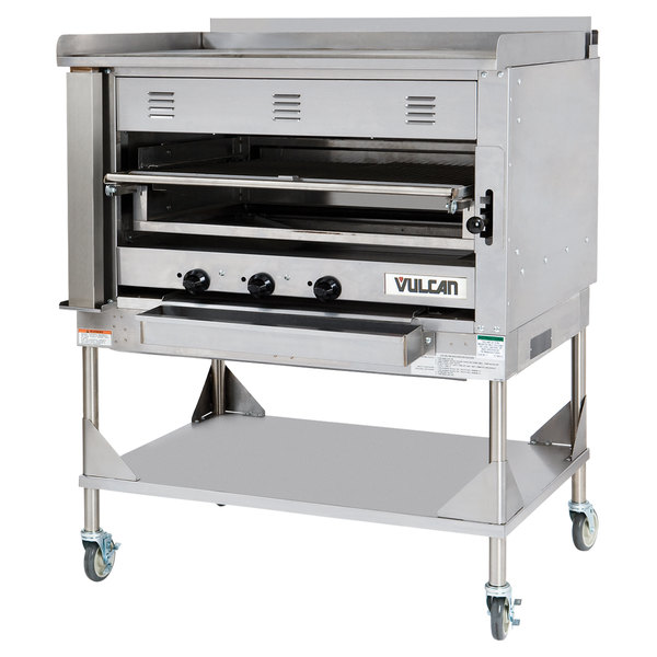 Vulcan VST3B-LP Liquid Propane Chophouse Ceramic Broiler with Griddle Top and Stand - 100,500 BTU Main Image 1