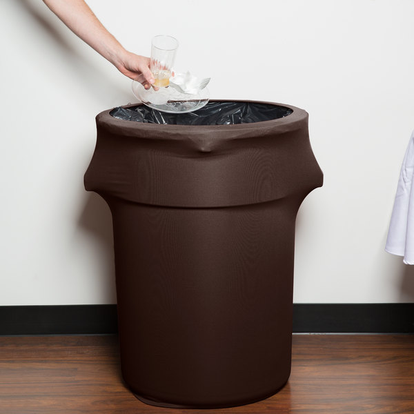 Marko EMB5026WC44515 Embrace 44 Gallon Chocolate Spandex Round Waste Container Cover