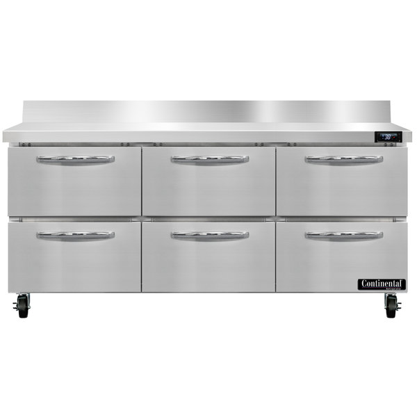 """Continental Refrigerator SW72-BS-D 72"""" Worktop Refrigerator with Six Drawers - 20.6 cu. ft."""