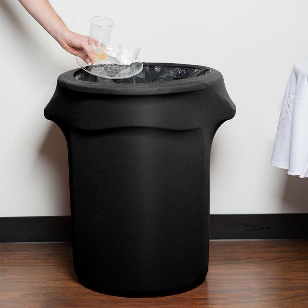 Marko EMB5026WC35014 Embrace 32 Gallon Black Spandex Round Waste Container Cover