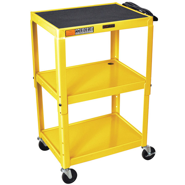 "Luxor W42AYE Yellow Metal 3 Shelf A/V Utility Cart 18"" x 24"" x 42"" - Adjustable Height"