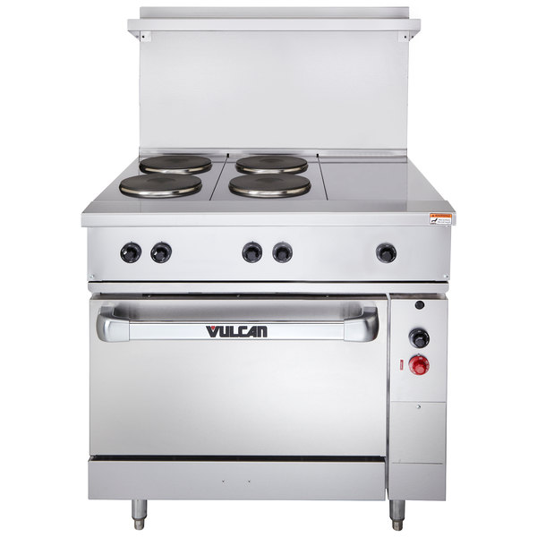 "Vulcan EV36-S-4FP-1HT-240 Endurance Series 36"" Electric Range with 4 French Plates, 1 Hot Top, and 1 Standard Oven - 240V"
