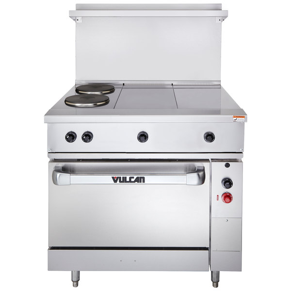 """Vulcan EV36S-2FP2HT240 Endurance Series 36"""" Electric Range with 2 French Plates, 2 Hot Tops, and 1 Standard Oven - 240V"""