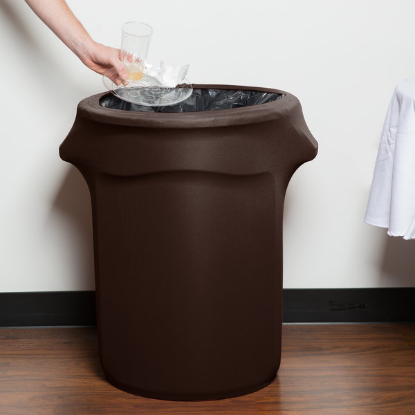 Marko EMB5026WC35515 Embrace 32 Gallon Chocolate Spandex Round Waste Container Cover