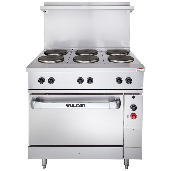 """Vulcan EV36S-6FP240 Endurance Series 36"""" Electric Range with 6 French Plates and Oven Base - 240V, 17 kW"""